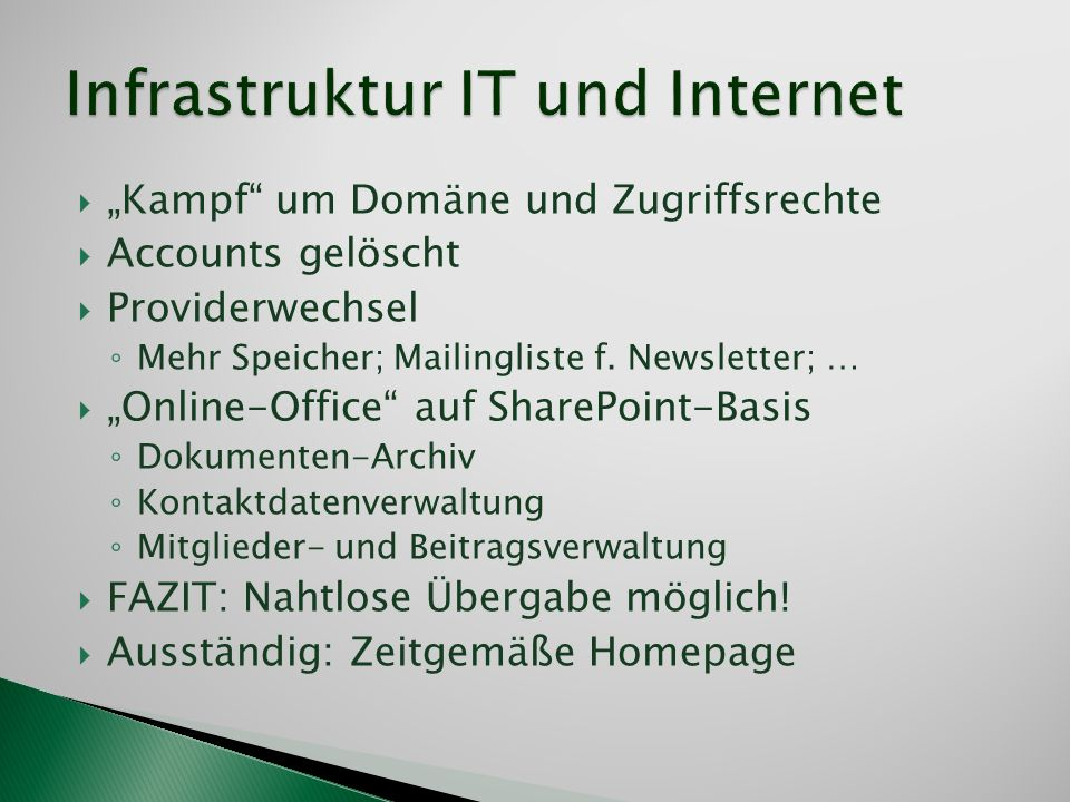 Infrastruktur IT und Internet