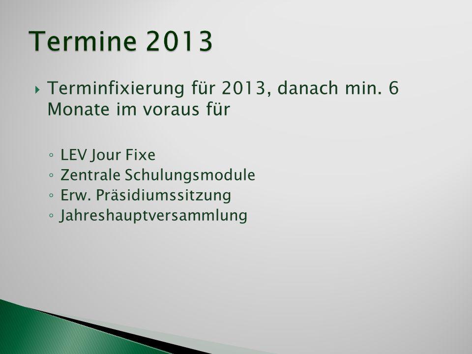 Termine 2013 Terminfixierung für 2013, danach min. 6 Monate im voraus für. LEV Jour Fixe. Zentrale Schulungsmodule.
