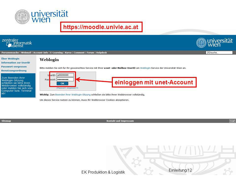 https://moodle.univie.ac.at einloggen mit unet-Account
