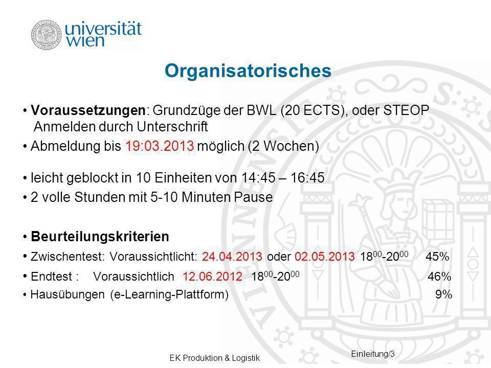 Organisatorisches Voraussetzungen: Grundzüge der BWL (20 ECTS), oder STEOP Anmelden durch Unterschrift.
