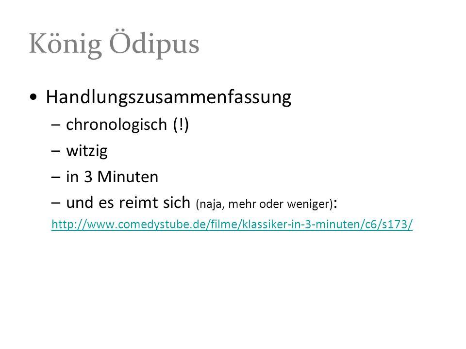 König Ödipus Handlungszusammenfassung chronologisch (!) witzig