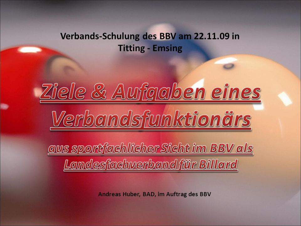 Verbands-Schulung des BBV am 22.11.09 in Titting - Emsing