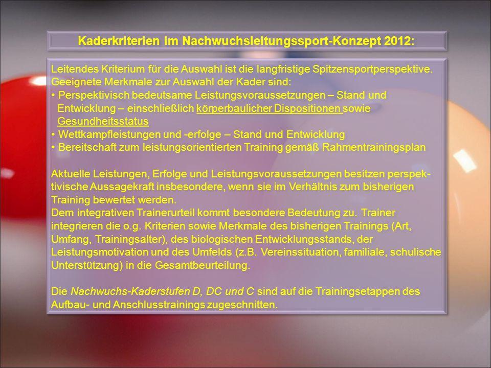 Kaderkriterien im Nachwuchsleitungssport-Konzept 2012: