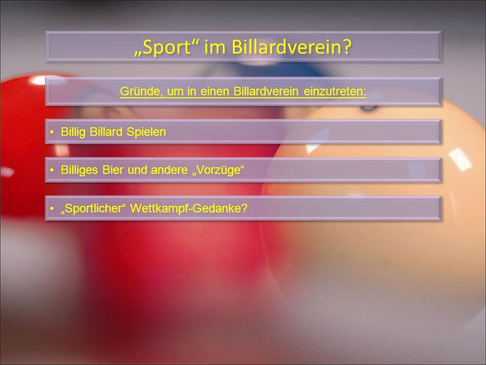 """Sport im Billardverein"