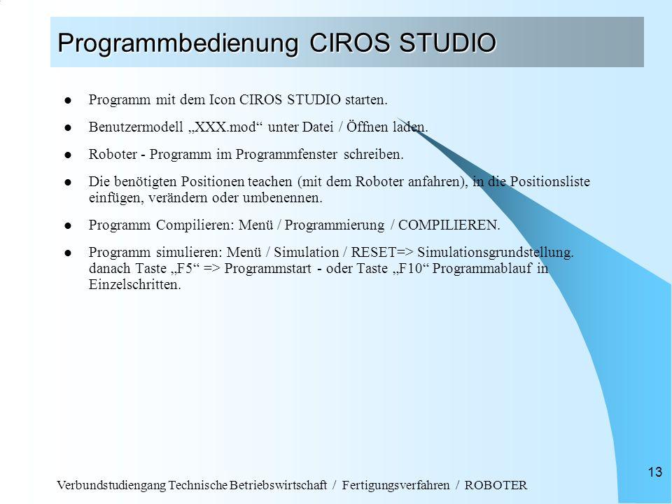 Programmbedienung CIROS STUDIO