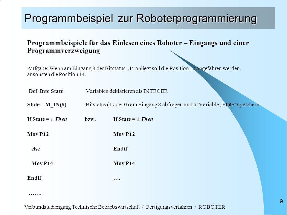 Programmbeispiel zur Roboterprogrammierung
