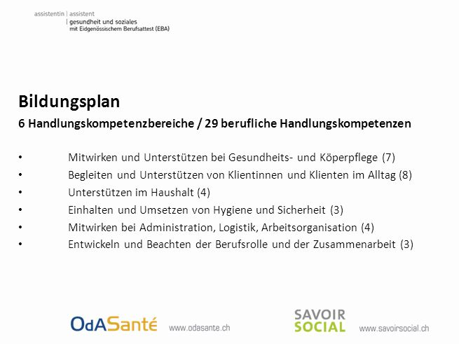 Bildungsplan 6 Handlungskompetenzbereiche / 29 berufliche Handlungskompetenzen. Mitwirken und Unterstützen bei Gesundheits- und Köperpflege (7)
