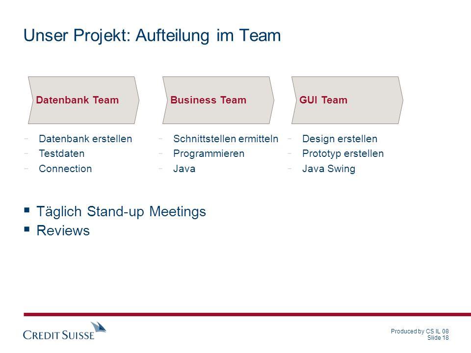Unser Projekt: Aufteilung im Team