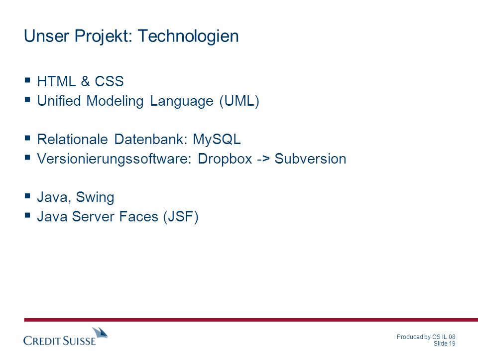 Unser Projekt: Technologien