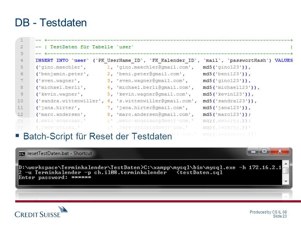 DB - Testdaten Batch-Script für Reset der Testdaten