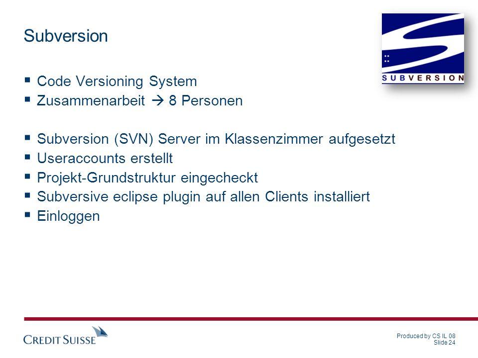 Subversion Code Versioning System Zusammenarbeit  8 Personen