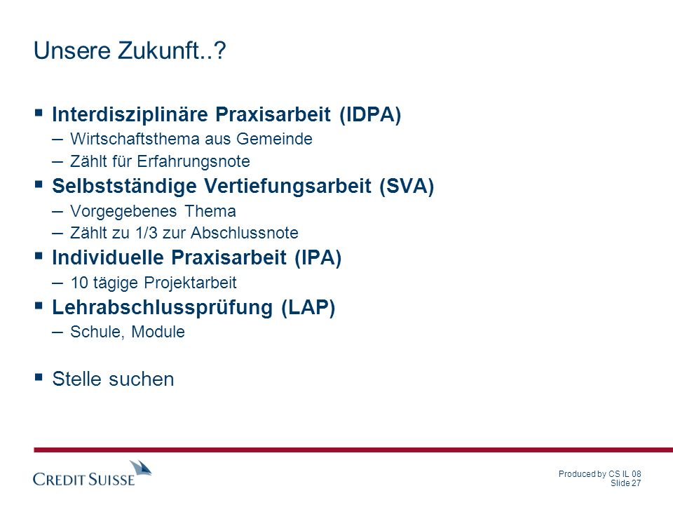 Unsere Zukunft.. Interdisziplinäre Praxisarbeit (IDPA)