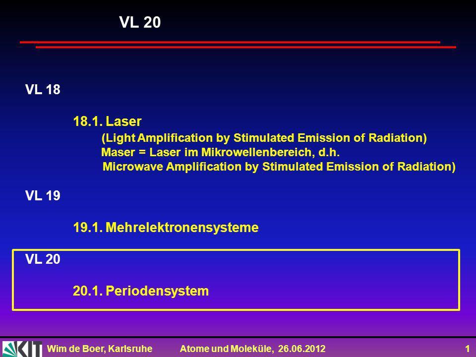 VL 20VL 18. 18.1. Laser. (Light Amplification by Stimulated Emission of Radiation) Maser = Laser im Mikrowellenbereich, d.h.