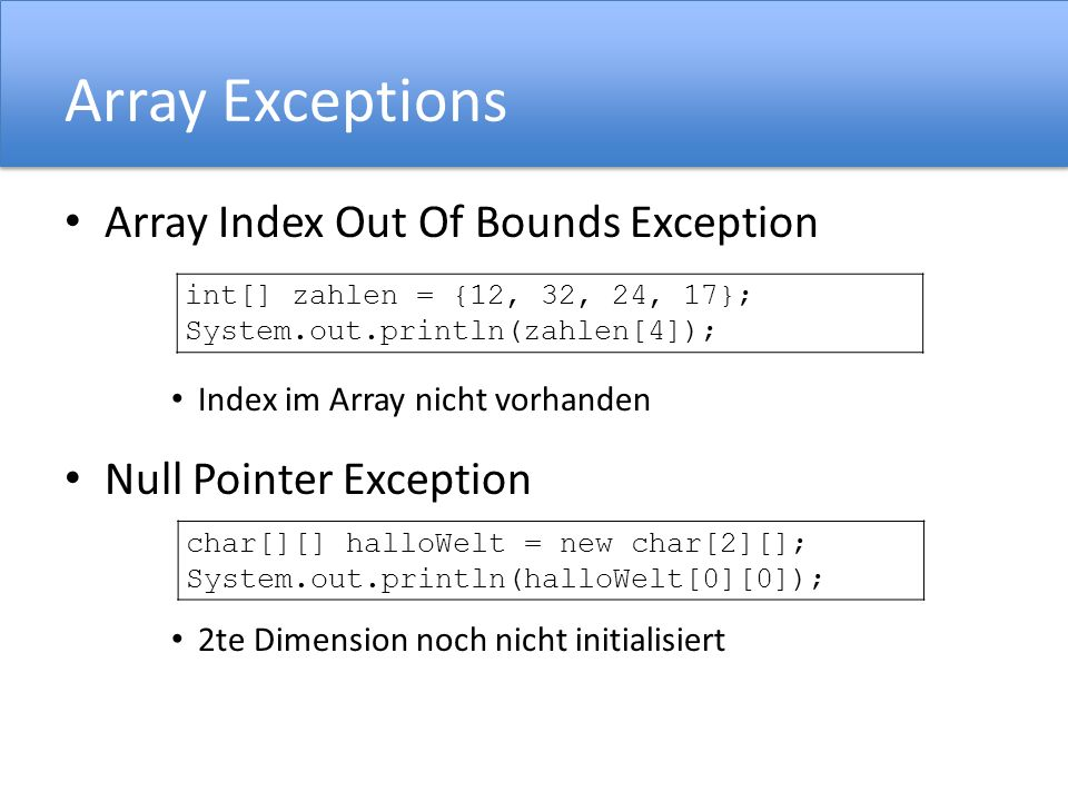 Array Exceptions Array Index Out Of Bounds Exception