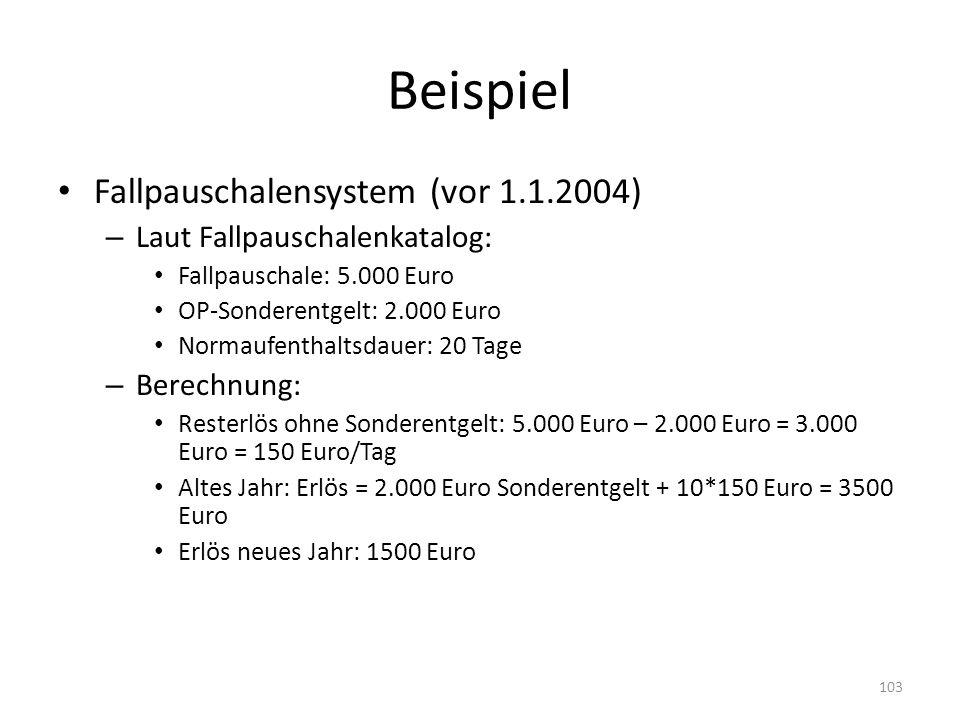 Beispiel Fallpauschalensystem (vor 1.1.2004)