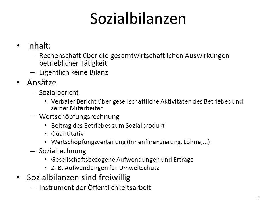 Sozialbilanzen Inhalt: Ansätze Sozialbilanzen sind freiwillig