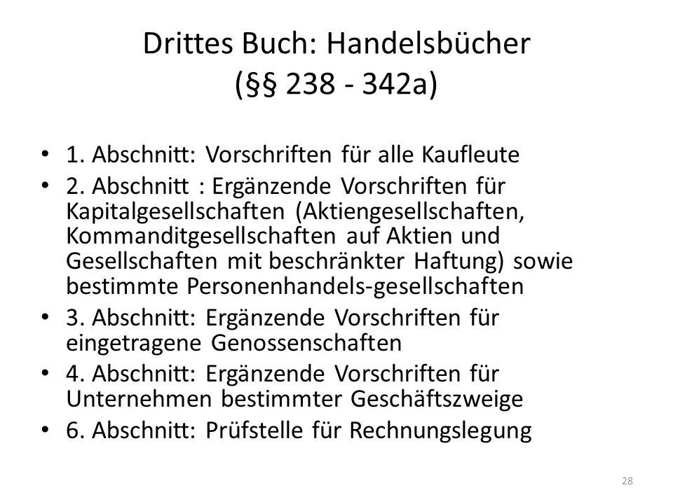 Drittes Buch: Handelsbücher (§§ 238 - 342a)