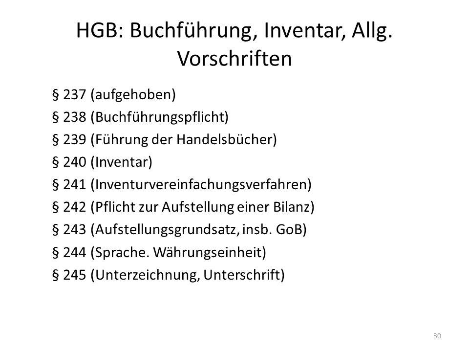 HGB: Buchführung, Inventar, Allg. Vorschriften