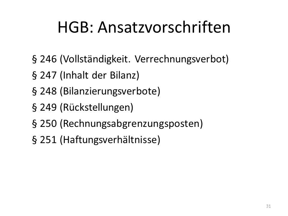 HGB: Ansatzvorschriften