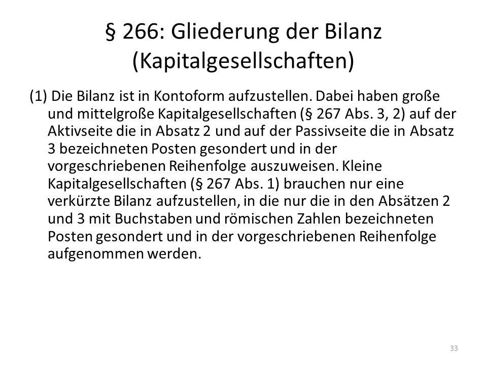 § 266: Gliederung der Bilanz (Kapitalgesellschaften)