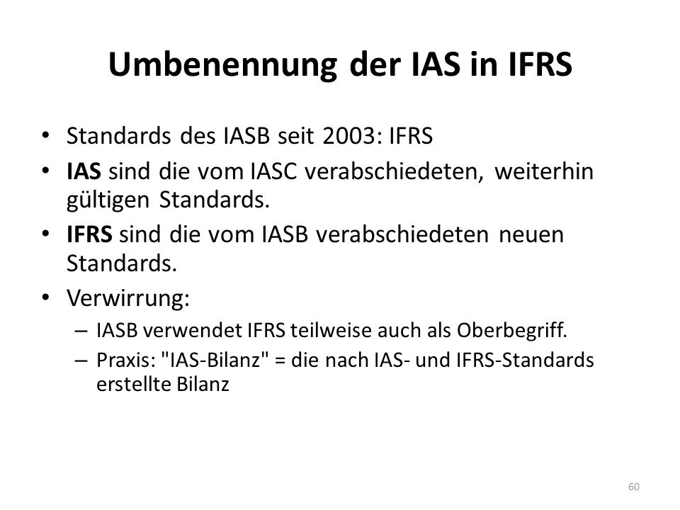 Umbenennung der IAS in IFRS