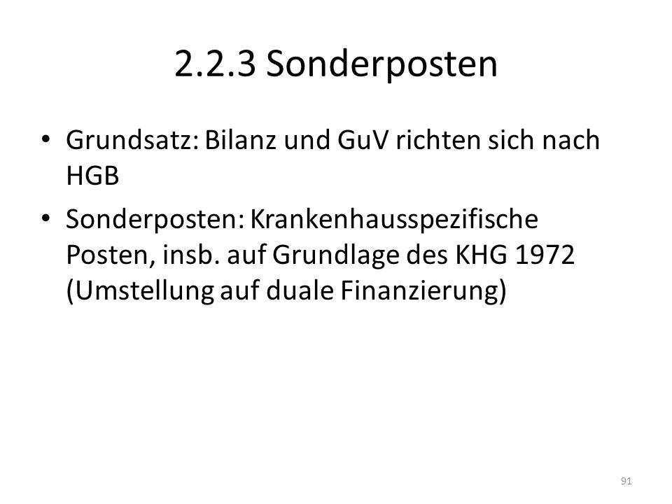 2.2.3 Sonderposten Grundsatz: Bilanz und GuV richten sich nach HGB