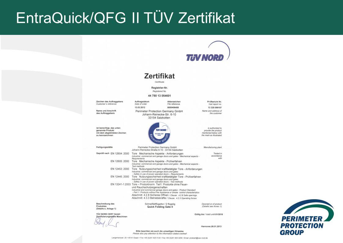 EntraQuick/QFG II TÜV Zertifikat