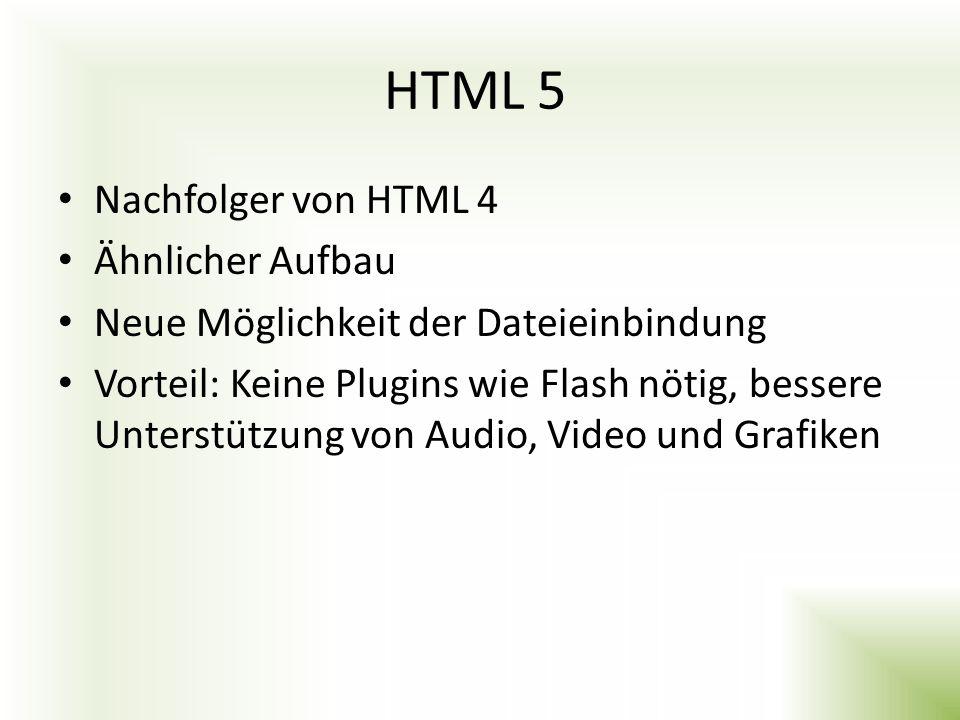 HTML 5 Nachfolger von HTML 4 Ähnlicher Aufbau