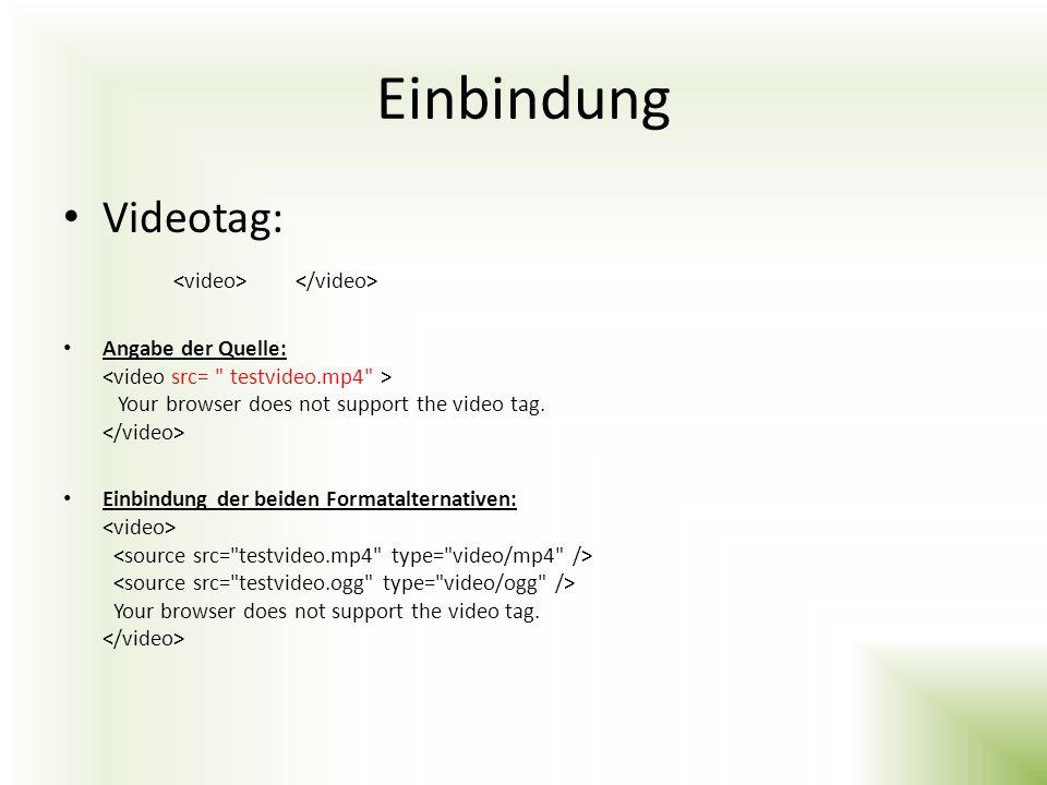 Einbindung Videotag: <video> </video>