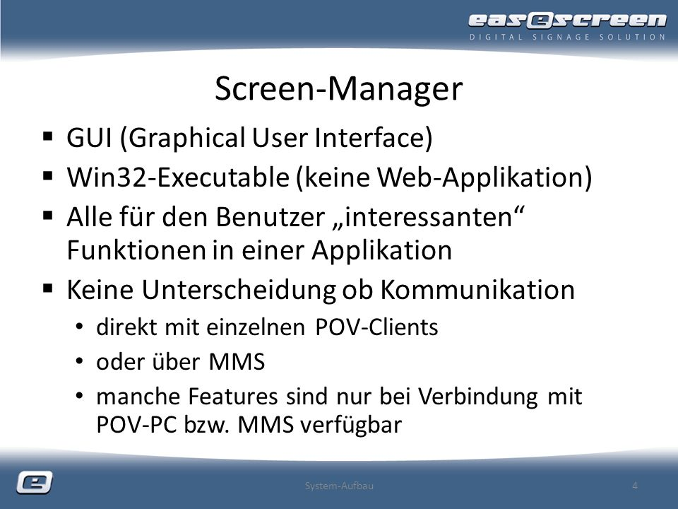 Screen-Manager GUI (Graphical User Interface)