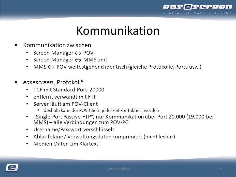 "Kommunikation Kommunikation zwischen easescreen ""Protokoll"