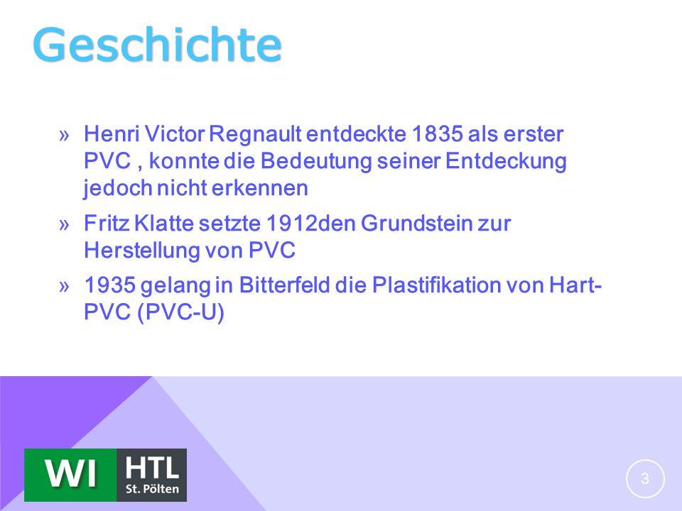 Geschichte Henri Victor Regnault entdeckte 1835 als erster PVC , konnte die Bedeutung seiner Entdeckung jedoch nicht erkennen.