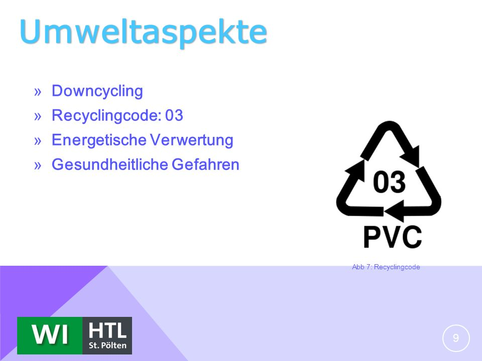 Umweltaspekte Downcycling Recyclingcode: 03 Energetische Verwertung