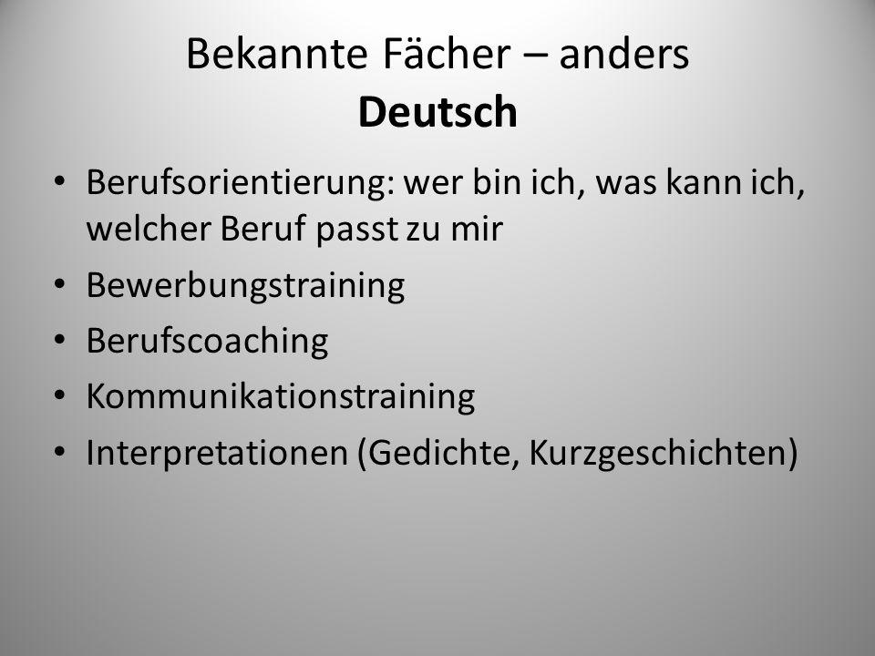 Bekannte Fächer – anders Deutsch