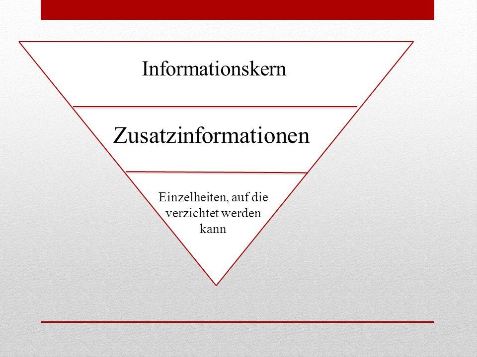 Zusatzinformationen Informationskern Einzelheiten, auf die