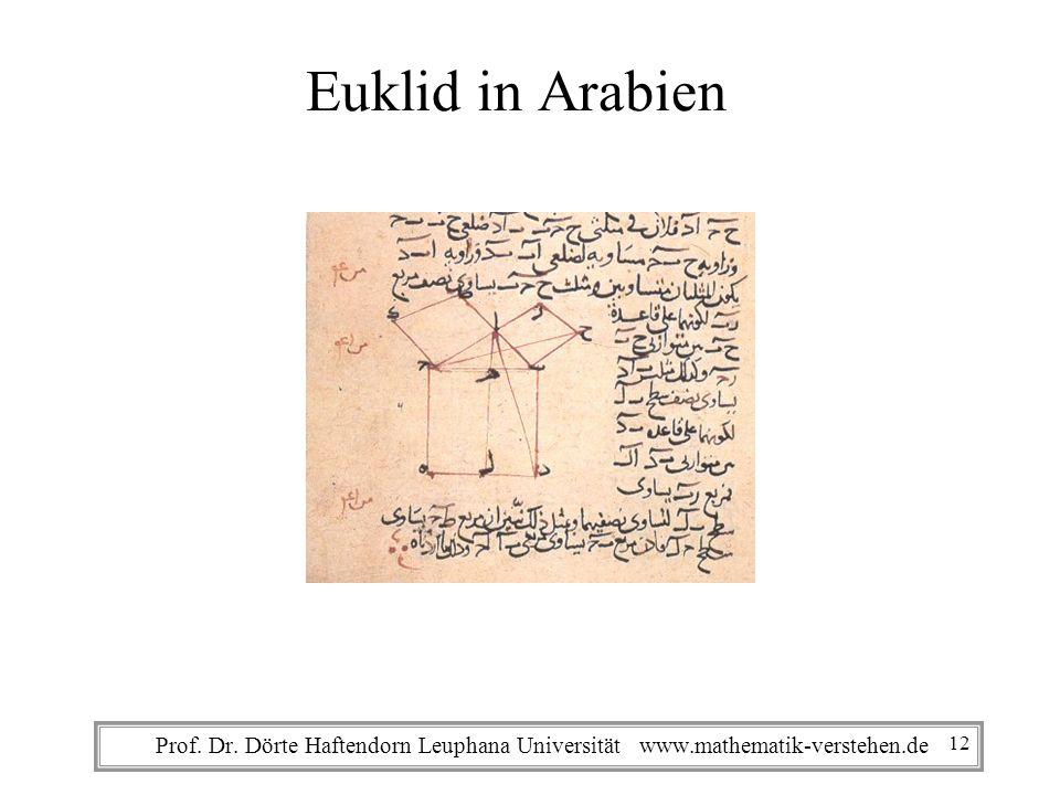 Euklid in Arabien Prof. Dr. Dörte Haftendorn Leuphana Universität www.mathematik-verstehen.de