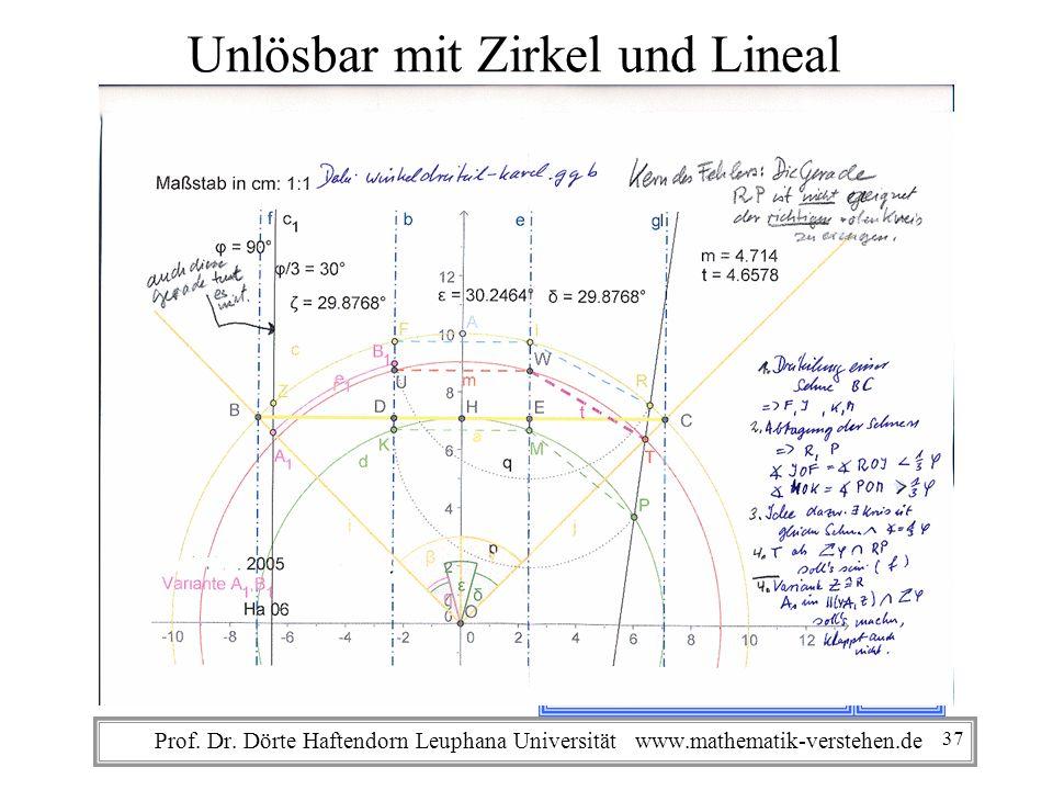 Unlösbar mit Zirkel und Lineal die Winkeldrittelung