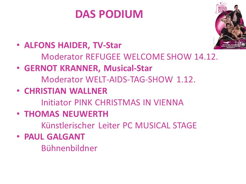 DAS PODIUM ALFONS HAIDER, TV-Star