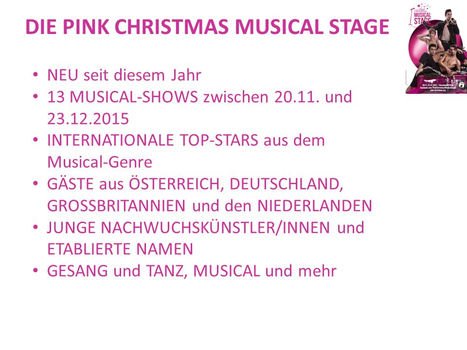DIE PINK CHRISTMAS MUSICAL STAGE