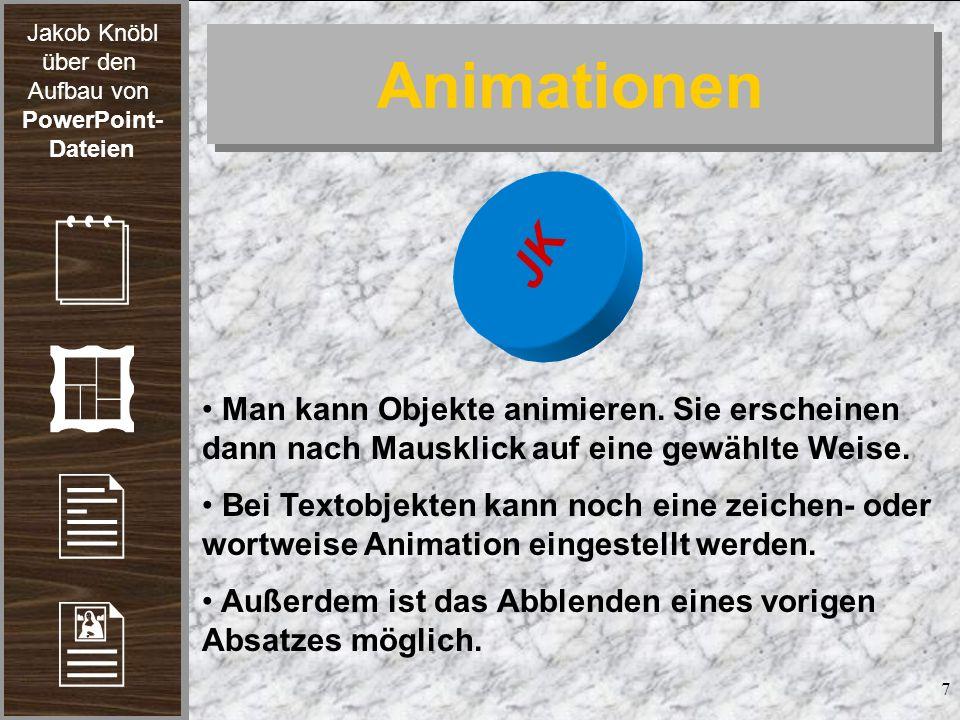 Animationen JK. Man kann Objekte animieren. Sie erscheinen dann nach Mausklick auf eine gewählte Weise.