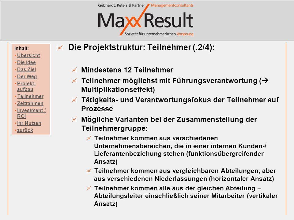Die Projektstruktur: Teilnehmer (.2/4):