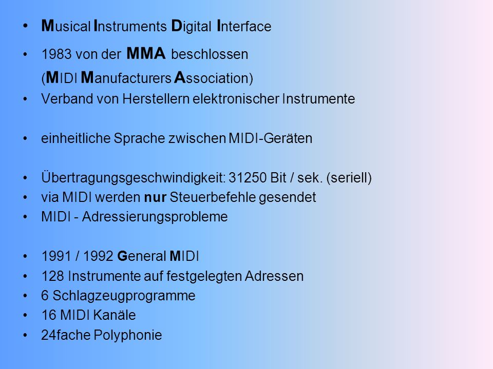 Musical Instruments Digital Interface