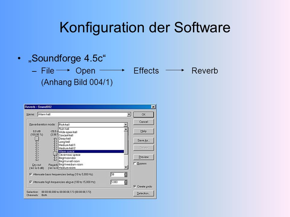 Konfiguration der Software