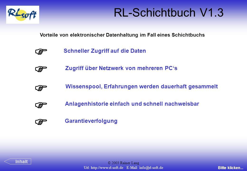 F F F F F RL-Schichtbuch V1.3 Schneller Zugriff auf die Daten