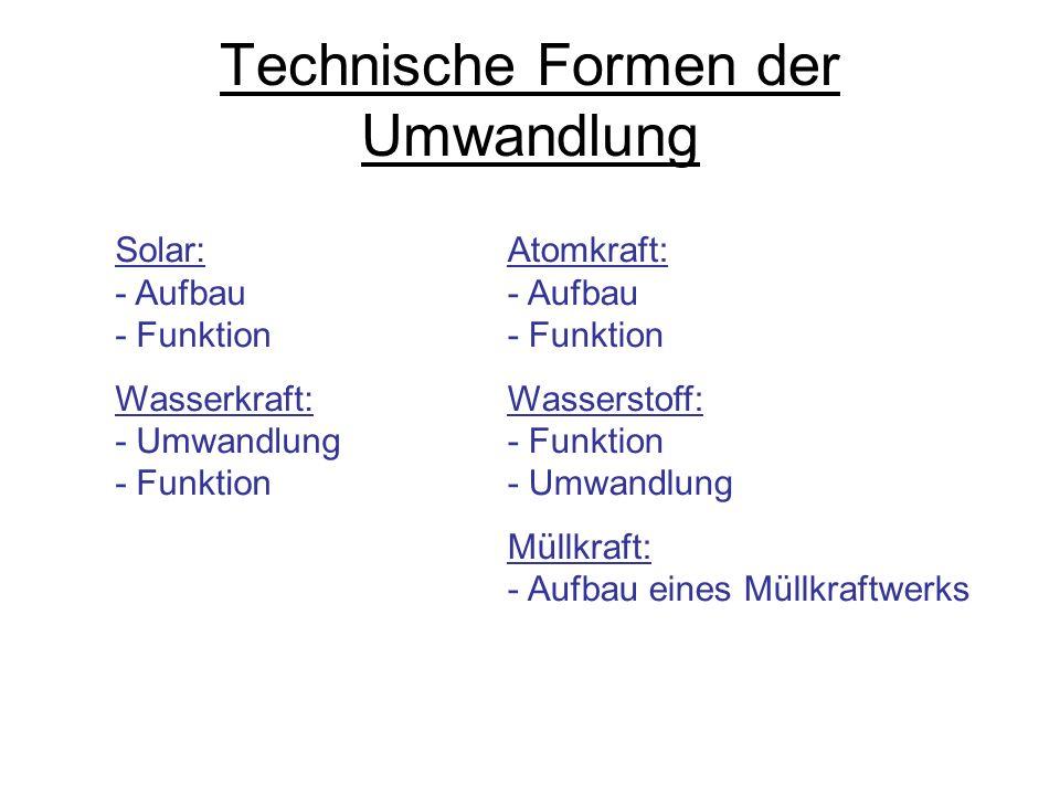 Technische Formen der Umwandlung