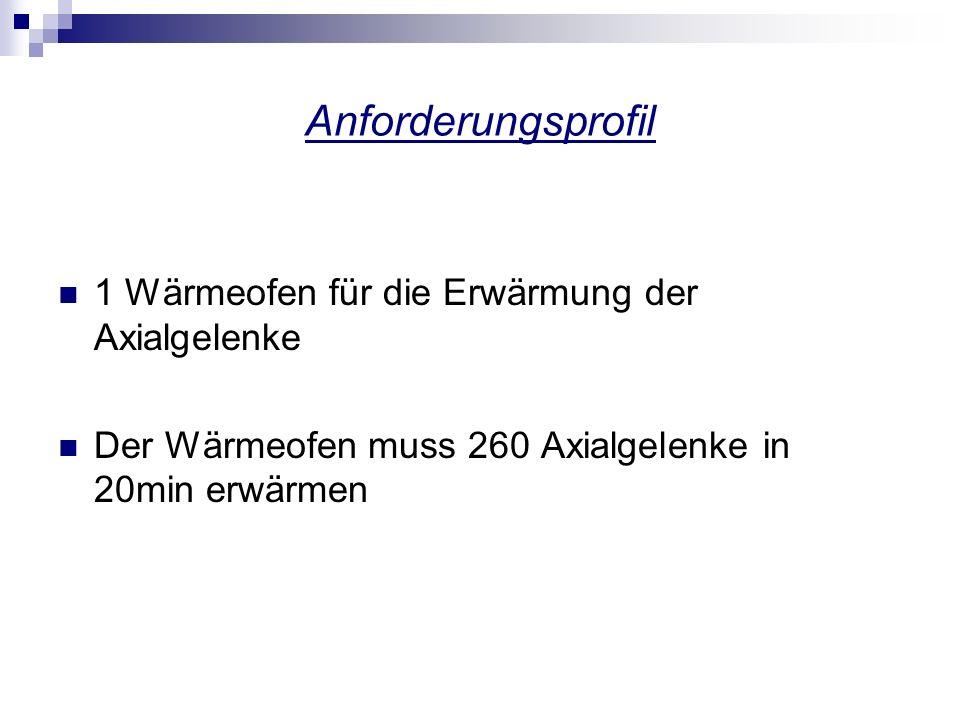 Anforderungsprofil 1 Wärmeofen für die Erwärmung der Axialgelenke