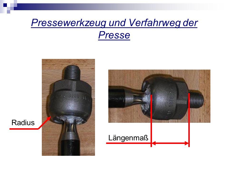 Pressewerkzeug und Verfahrweg der Presse