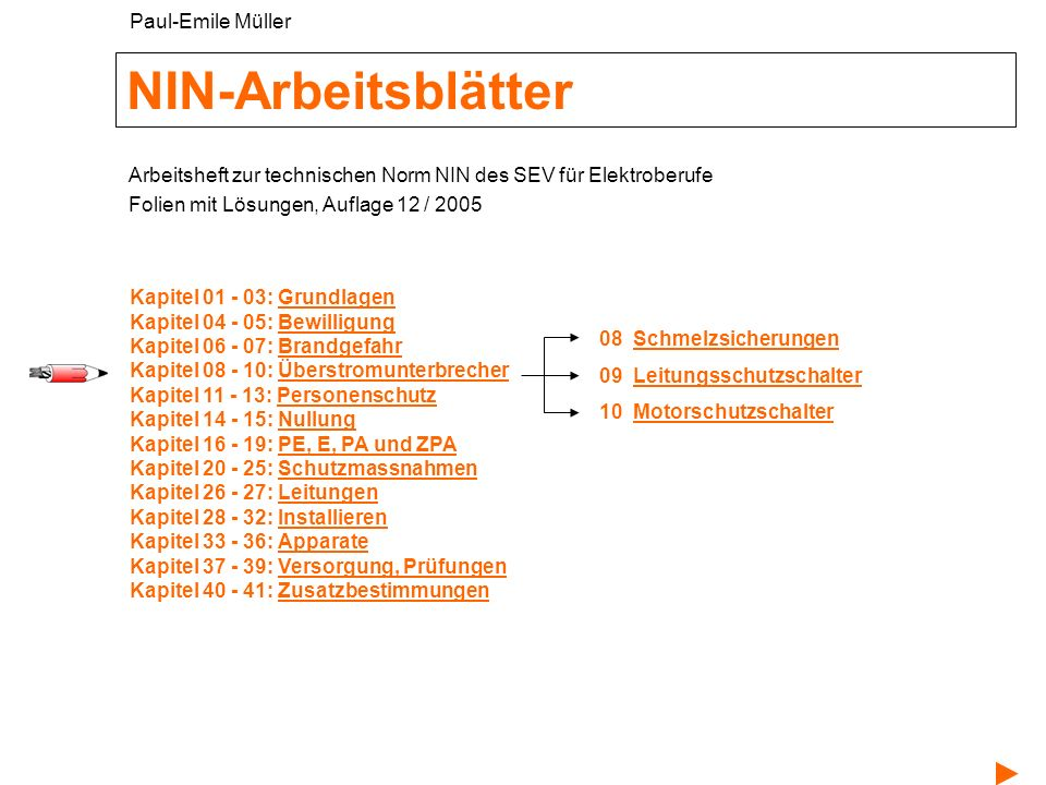 NIN-Arbeitsblätter Paul-Emile Müller