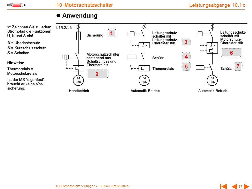 Leistungsabgänge 10.1 c 10 Motorschutzschalter 1 3 6 4 5 7 2