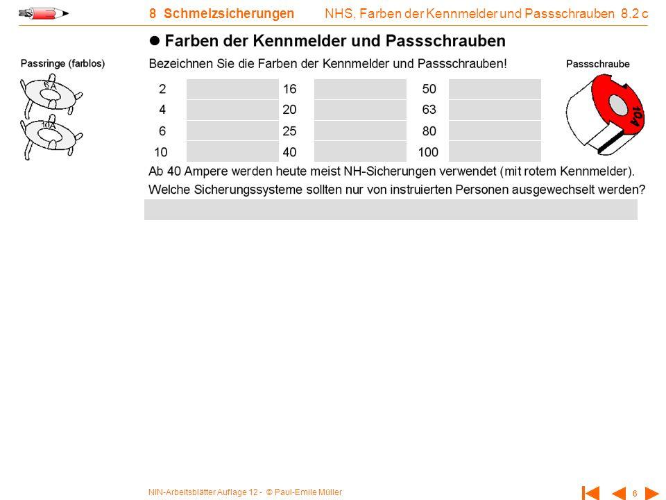 NHS, Farben der Kennmelder und Passschrauben 8.2 c